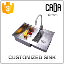 cadia 304 SUS double bowls one piece bathroom sink and countertop