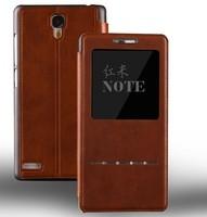 Metal Sensor Leather Flip Cover Case Bag Casing Pouch For Xiaomi redmi note