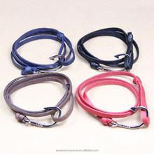 2015 leather fish hook bracelet braided leather bracelet