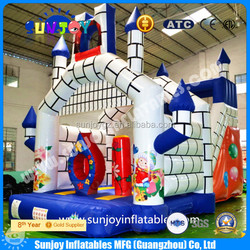 2015 funny good quality PVC hot sale chongqi inflatable bouncy castle bouncer/house interative game for kids