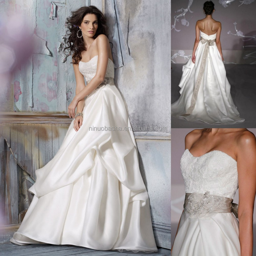Chic 2015 bridal ball gown wedding dress semi sweetheart for Pick up wedding dress