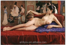 Nude painting,handmade Portrait oil painting nude chinese girl paintings