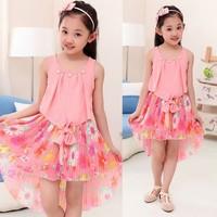 Cute 13 Year Old Girls O-Neck Patchwork Asymmetric Hem Floral Print Chiffon Beach Dress SV020750