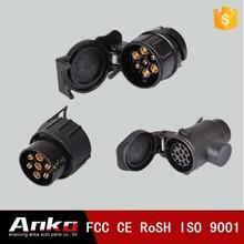 european australia auto parts plastic trailer adapter plug 7-pin black plastic