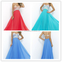 Fashion Sweetheart Appliqued Beaded Chiffon Evening dresses Sexy Backless Prom dresses FXL-229