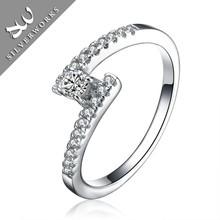 New long diamond silver ring,wedding band ring