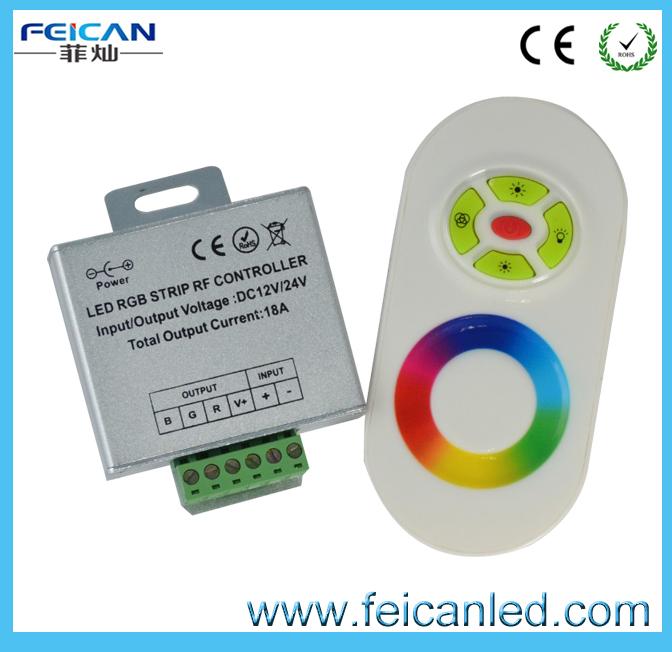 RF LED controller half touch 5 keys remote aluminum shell RGB 433Mhz 12v/24v 14modes