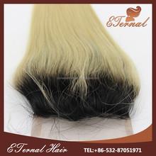 brazilian human hair 6A grade 1b 613 silky straight two tone ombre lace closure