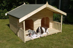 Luxury Outdoor Wooden Double Summerhouse Dog House for 2 Large Dogs