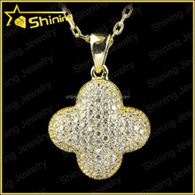 wholesale fashionable lucky clover 925 sterling silver 18K gold plated cubic zirconia iced out pendant