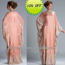 Hot Sale Long Good Quality Chiffon Beaded Lace Appliqued Elegant Long Sleeve Evening Dubai Kaftan Dress