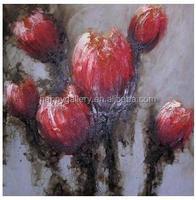 red purple flower oil painting