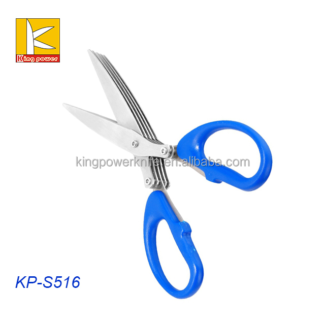 mirror polishing blade soft grip handle 5 Blade herb scissors kitchen scissors soft grip handle