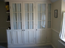 High quality white mullion glass door wardrobe with open shelves