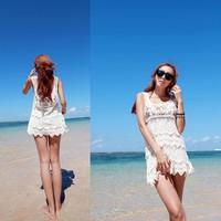 женщин кружева крючком прикрыть рукавов купальники бикини пляж длинное платье топы & dropshipping