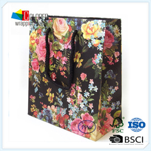 Full Flowers Printed Cheap Paper Shopping Bags