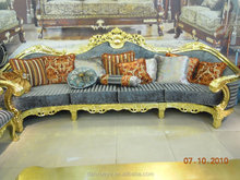 High quality wooden furniture from singapore-high density sponge sofa-luxury elegant fully gold fabric sofa 807#