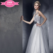 ShiJ Hot New Elegant Silver Long Strapless Lace Beaded Wedding Dress Bridal Gown