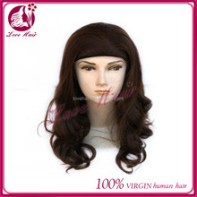 new fashion popular style 100% human virgin hair human hair band fall wig