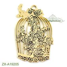 Antique Bronze Huge Filigree Bird Cage Popular Western Cheaper Pendants For Jewelry Making