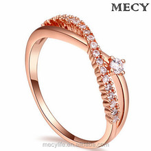MECY LIFE hot selling inlaid 3A mirco zircons 18k rose gold plating charming forever love new design engagement ring insurance