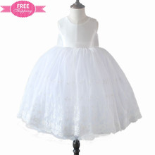 ShiJ Kids White Lace Knee Length Ball Gown Dress
