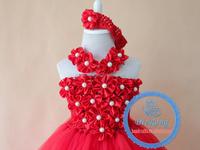 Red flower baby girl smocked tutu dress handmade christening gowns for girls