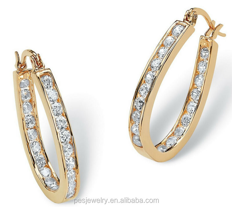 Round cubic zirconia inside out large gold hoop earrings for Wholesale 14k gold jewelry distributors