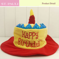 1st birthday theme handmade fake cake with candle happy birthday hat