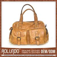 Highest Quality Simple Style Oem Service Genuine Leather Handbag Yellow