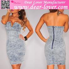 wholesale Denim Plunging Strapless Dress online shopping hong kong