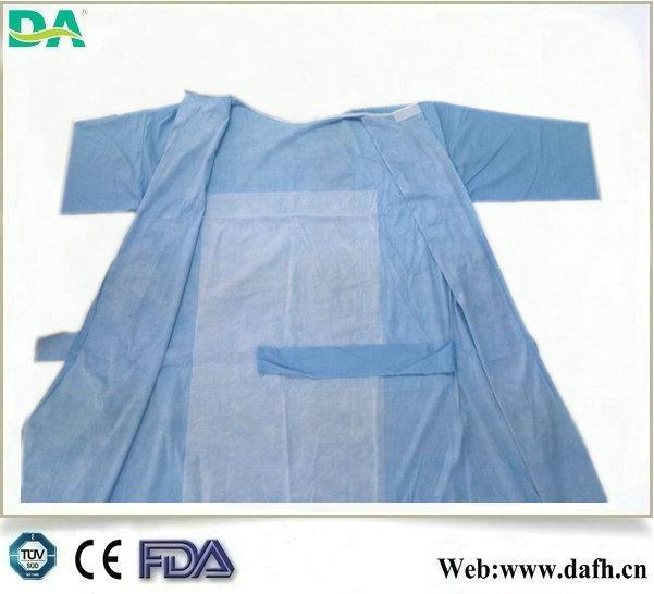 Dayanıklı kan/alkol/antistatik 3- Anti takviyeli spunlace cerrahi önlük