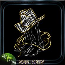 Cowboy hat and boots hot fix rhinestone motif transfer
