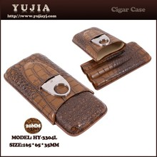 Portable 3 ciagars Multi-function leather cigar case with cutter cigar case supplier