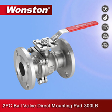 2PC Lever Operated Flange Ball Valve with ISO 5211 Direct Mounting Pad