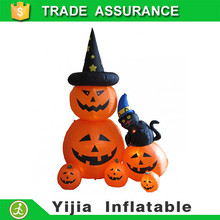 New Kids Gift Giant halloween decoration inflatable two pumpkins with witch hat