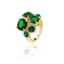 Yiwu Factory Promotion Austrian Crystal 14K Gold Plated Zinc Alloy Ring With AAA Zircon