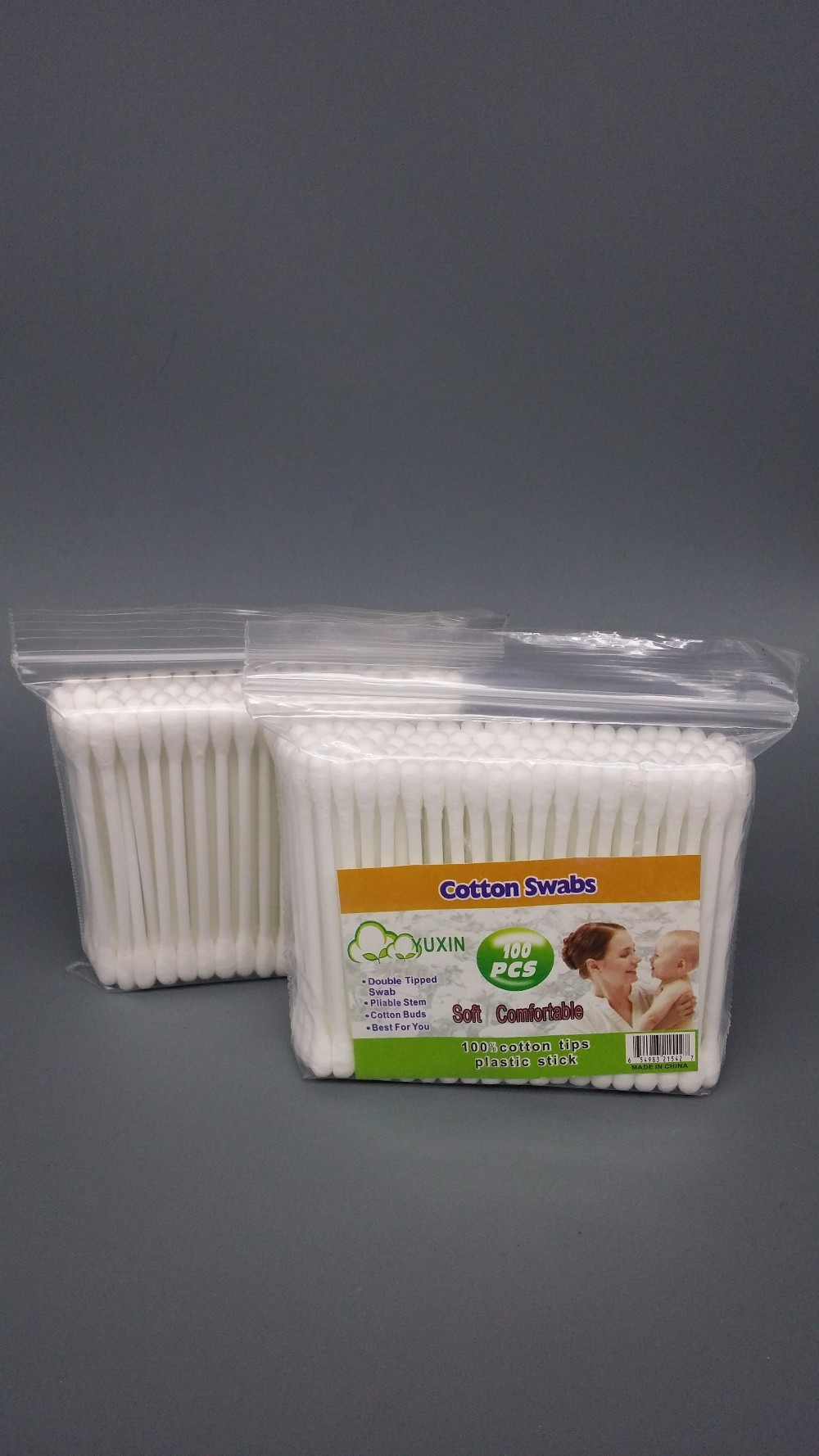 House Hold Cotton Swabs For Ear Cleaning 100pcs Poly Bag
