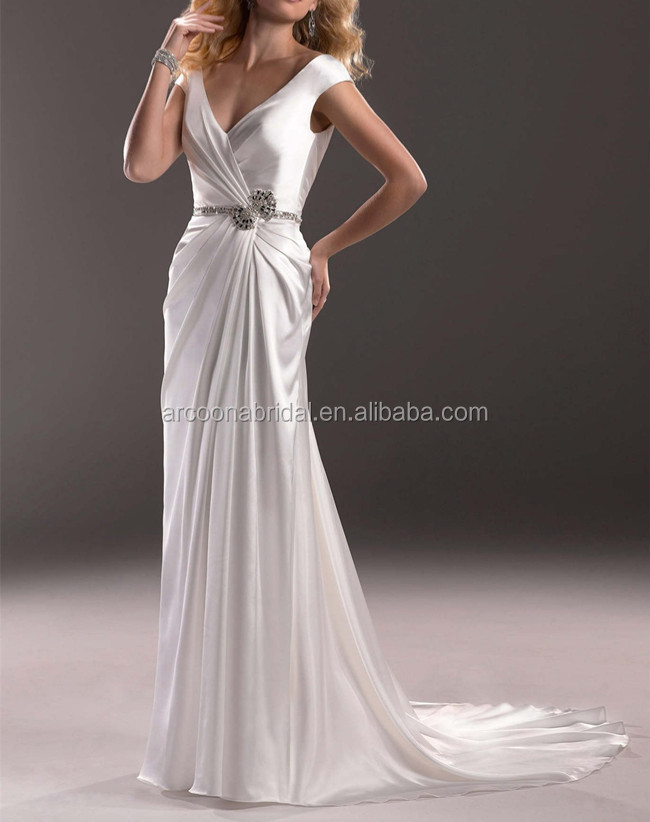 Sexy cap sleeves ruched bodice silver satin wedding dress for Silver satin wedding dress