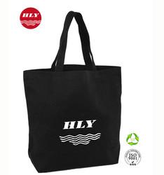 Your Own Logo 16oz Canvas Black Wholesale Plain Canvas Tote Bag