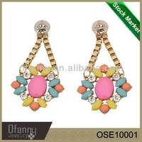 China Manufactur Long Beaded Pastel Coloured Earrings