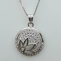Unique design cross shape sterling silver faceted crystal glass pendant