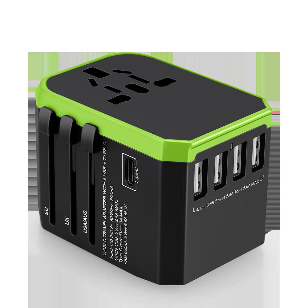 2019 Mới Nhất Điện Thông Minh USB Adapter Ổ Cắm Ổ Cắm Phổ Sạc Du Lịch Loại-C cổng và 4 USB với ANH MỸ AU EU Cắm Bộ Chuyển Đổi