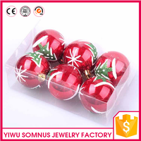 6 pcs/box Unique Electroplating Red PVC Christmas Tree Decorations Balls