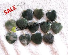 Lowest price gems natural moss agate heart shaped bead