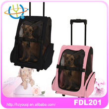 Nylon dog rolling carrier 4 wheels pet bag snoozer carrier on wheels