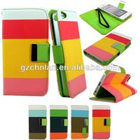 New stylish colorful wallet leather case for iphone 5 with 3 card slots