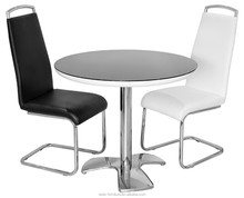 high gloss round table, cheap round black glass dining table set