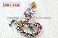 H470-1 Monnel Fashion Style Alloy Custom Wild Animal Rainbow Crystal Snake Metal Charm Necklace Pendant