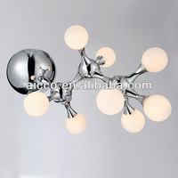 china supplier new product antique chrome metal and frosted glass ceiling lighting